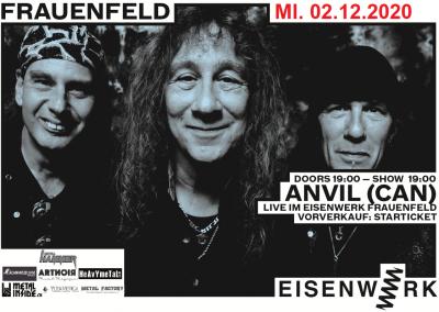 Anvil ** VERSCHOBEN – neuer Termin 02.10.2021 ** @ Eisenwerk